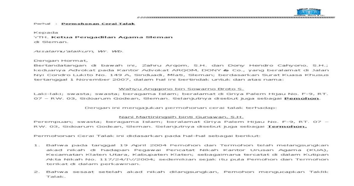 Permohonan Cerai Talak Siap Pdf Document