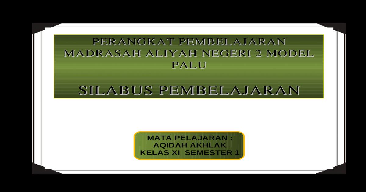 Silabus Aqidah Akhlak Ma Kelas Xi 1 2 Doc Document