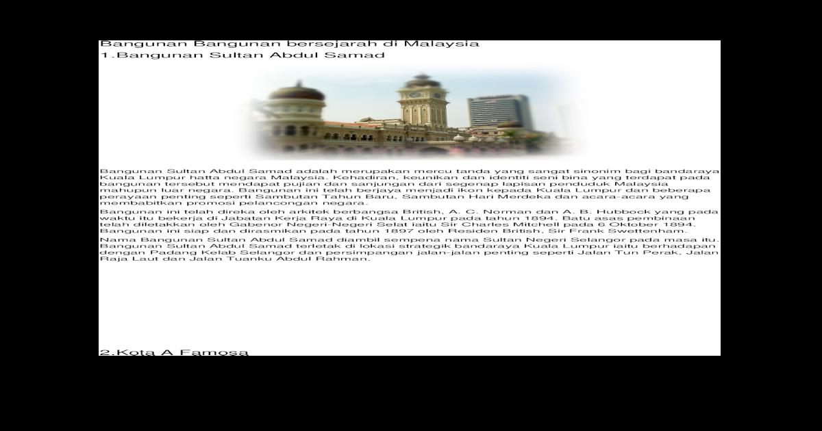 Bangunan Bangunan Bersejarah Di Malaysia Docx Document
