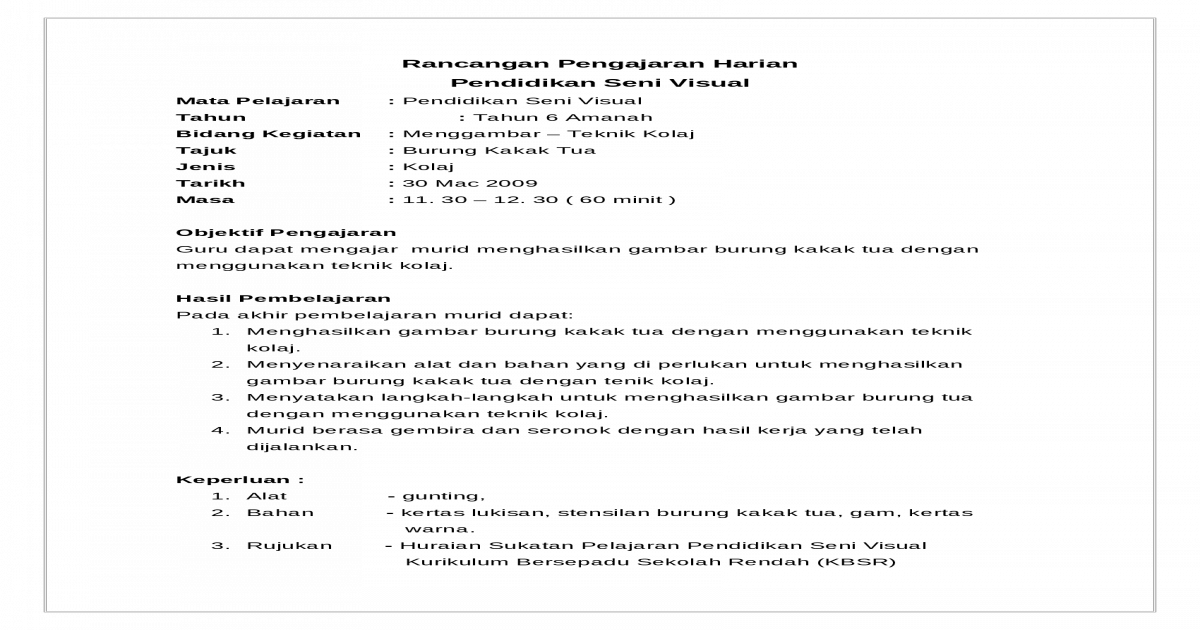 RPH BUDI-MINGGU1-(Burung Kakak Tua) 30 3 - [DOC Document]