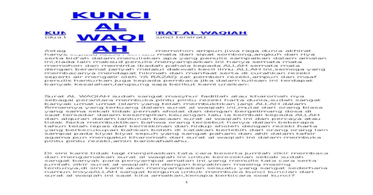 Kunci Pembuka Surat Al Waqiah Pdf Document