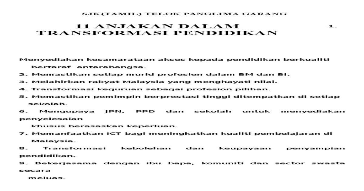 11 Anjakan Dalam Transformasi Pendidikan Pdf Document