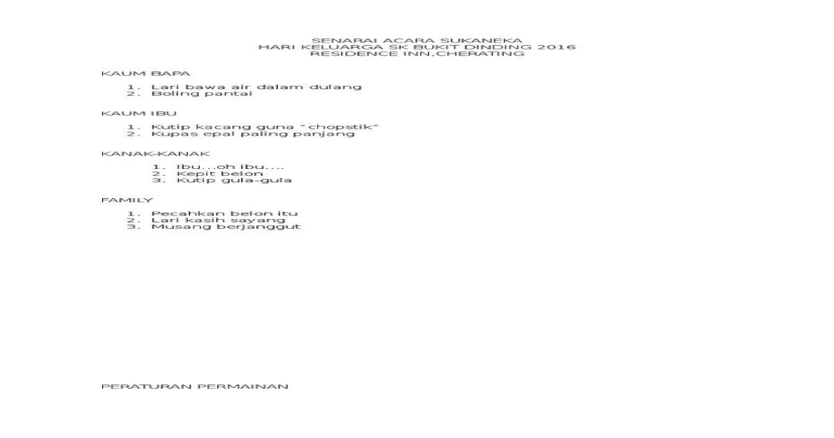 Senarai Acara Sukaneka Pdf Document
