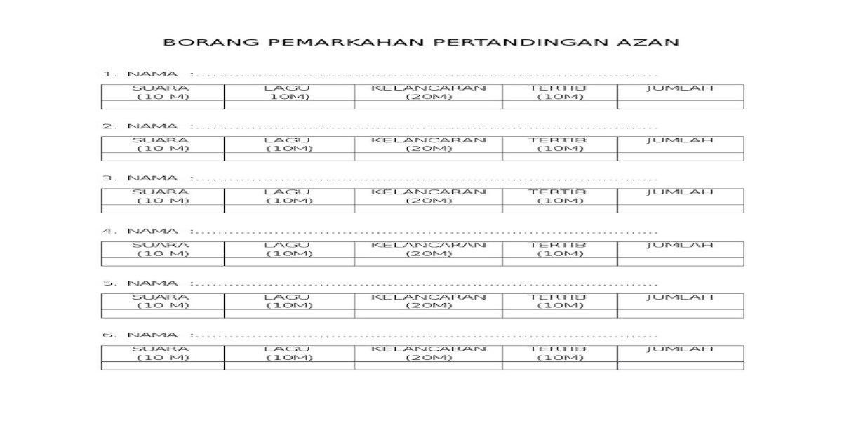 Borang Pemarkahan Pertandingan Azan Docx Pdf Document