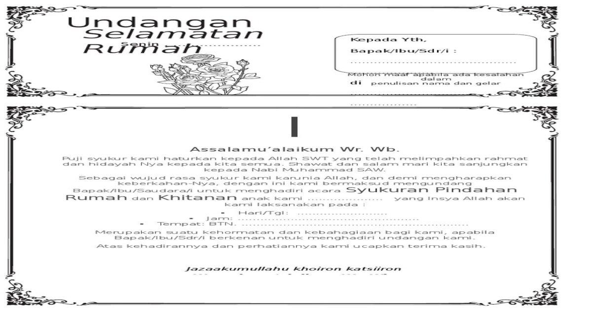 237715934 Contoh Surat Undangan Syukuran Rumah Baru Doc Pdf Document