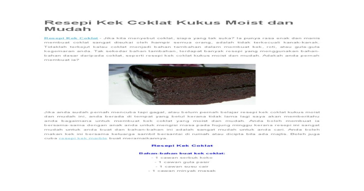 Resepi Kek Coklat Kukus Moist Dan Mudah Pdf Document