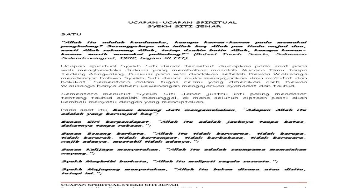 22255407 Ucapan Spiritual Syekh Siti Jenar - [PDF Document]