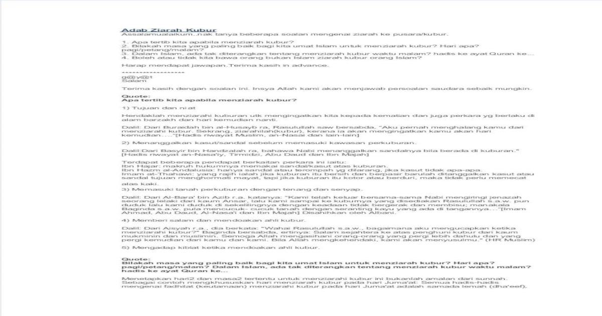 Adab Ziarah Kubur Pdf Document
