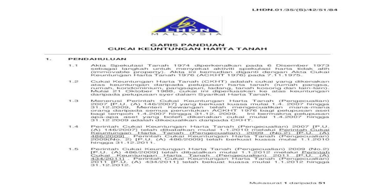 Garis Panduan Cukai Keuntungan Harta Lembaga Hasil Dalam Negeri Malaysia Mukasurat 6 Daripada 51 Pdf Document