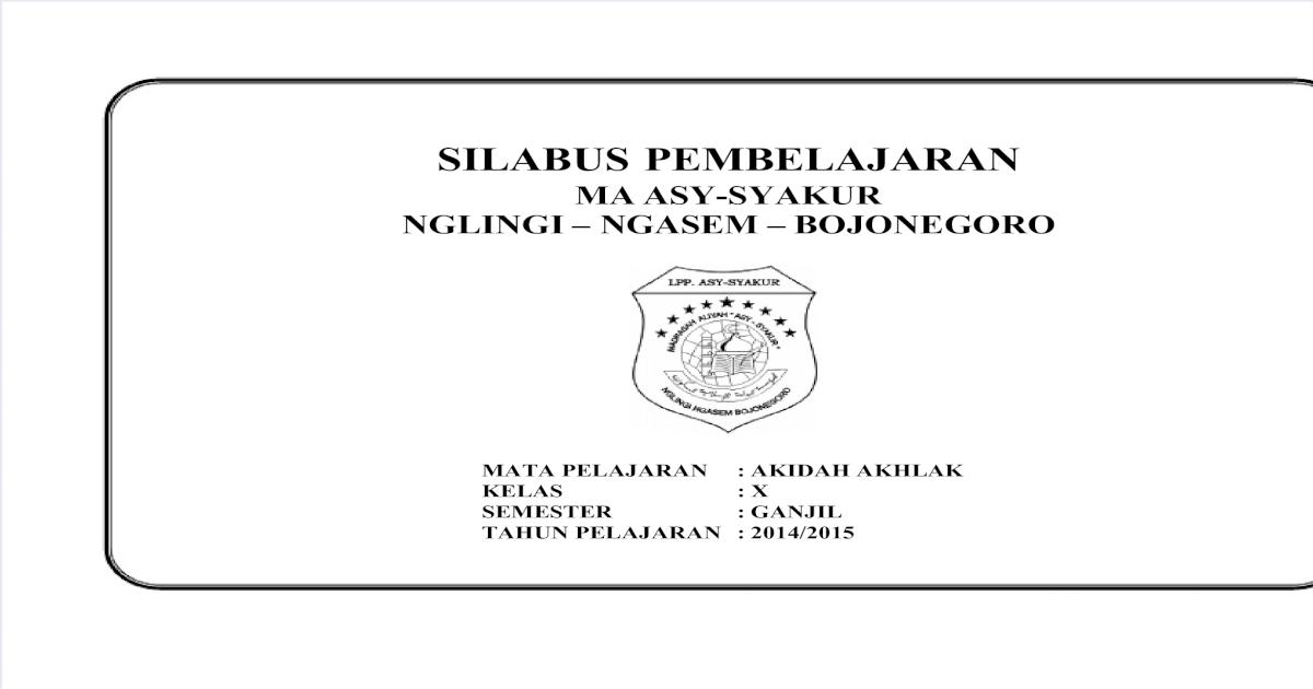 Silabus Akidah Akhlak Kelas X Semester Ganjil Docx Download Pdf