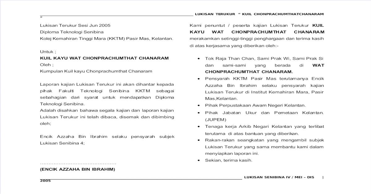 Report Kuil Kayu Chumprachunthat Chanaram Pdf Document