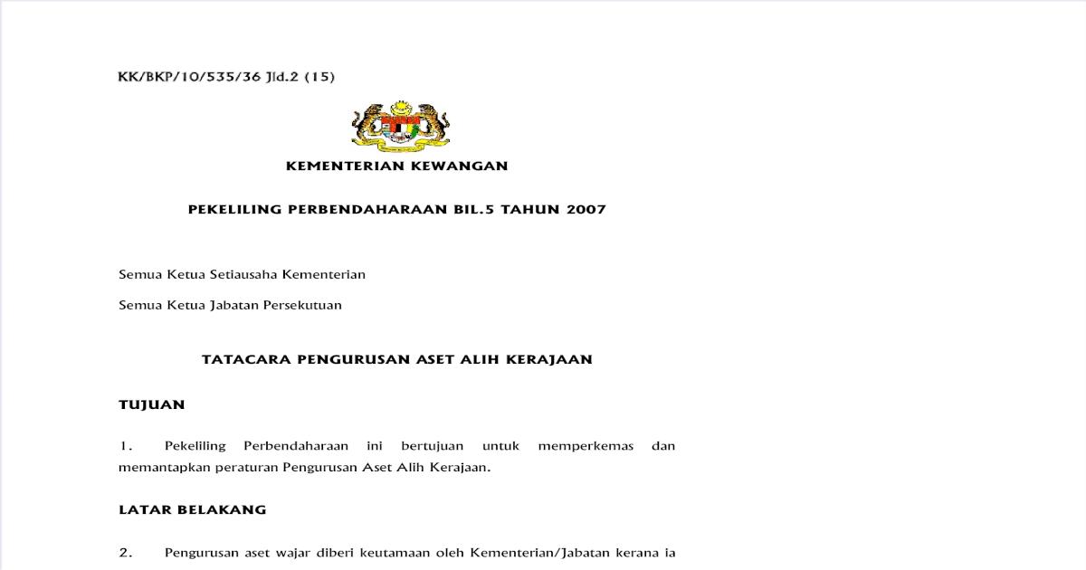 Pp052007 Tatacara Pengurusan Aset Alih Kerajaan Pdf Document